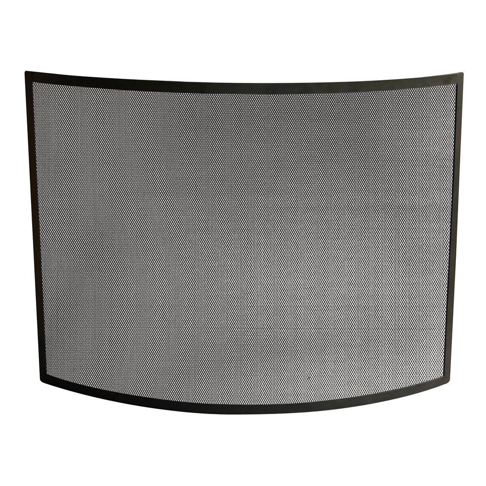 uniflame curved black wrought iron single panel fireplace screen s