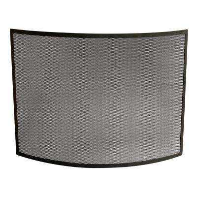 Curved Black Wrought Iron Single-Panel Fireplace Screen