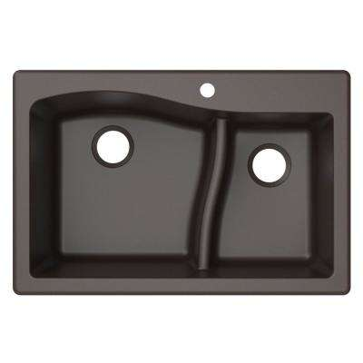 Quarza Drop-in/Undermount Granite Composite 33 in. 1-Hole 60/40 Double Bowl Kitchen Sink in Brown