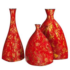 Bright Red Lacquer with Gold Accents Ceramic Decorative Vases (Set of 3) by