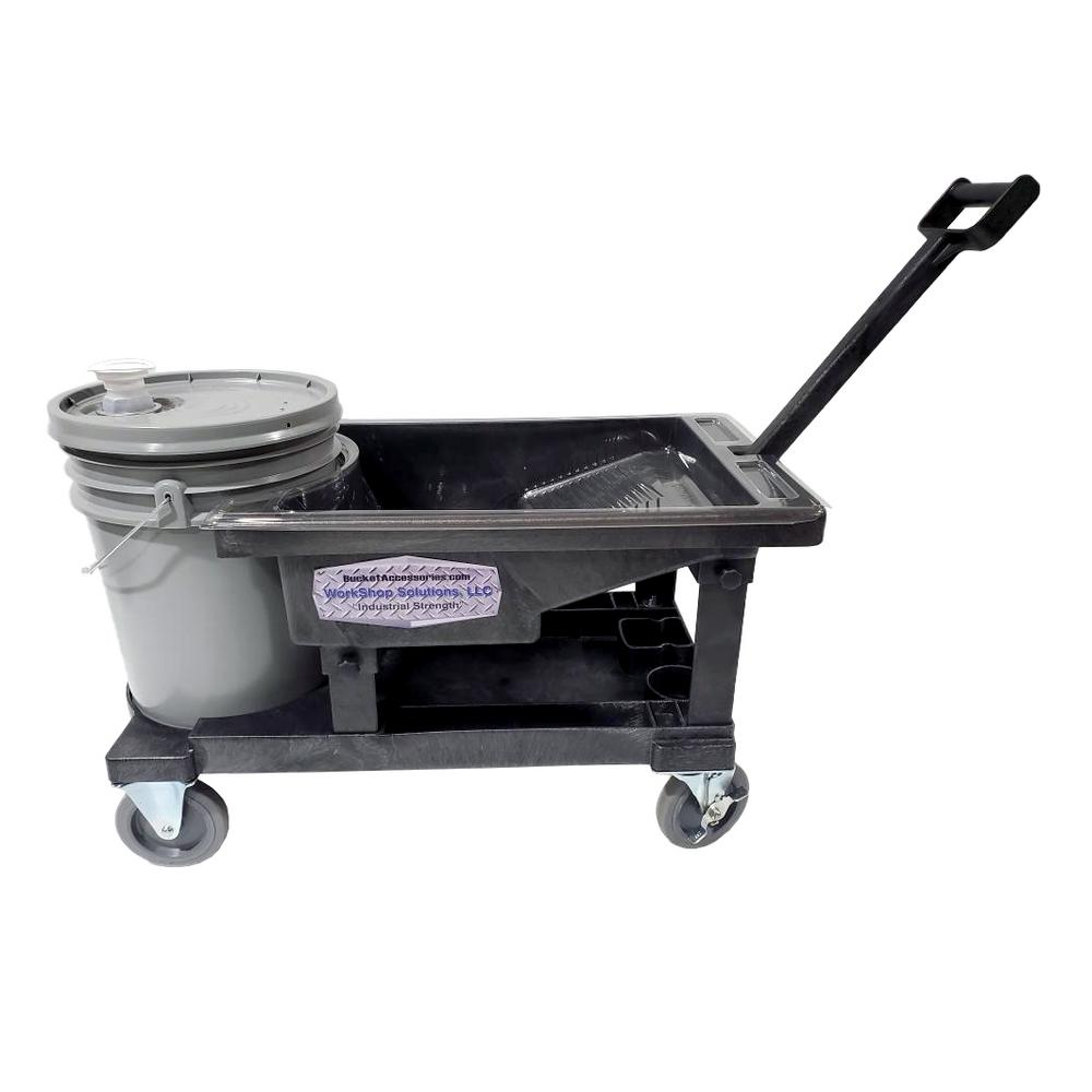 Workshop Solutions LLC Painter's Tray Utility Dolly Cart w/ 3 Vacuum Formed Disposable Paint Liners 15.25 in. Width - Bucket not Included