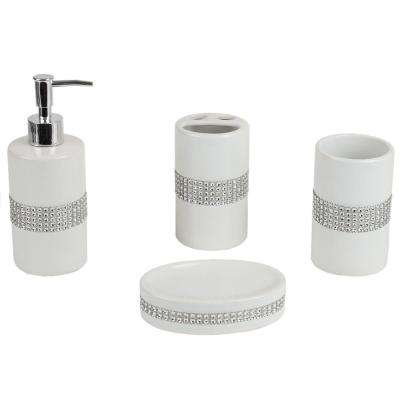 Luxury with Stunning Sequin Accents 4-Piece Ceramic Bath Accessory Set in White