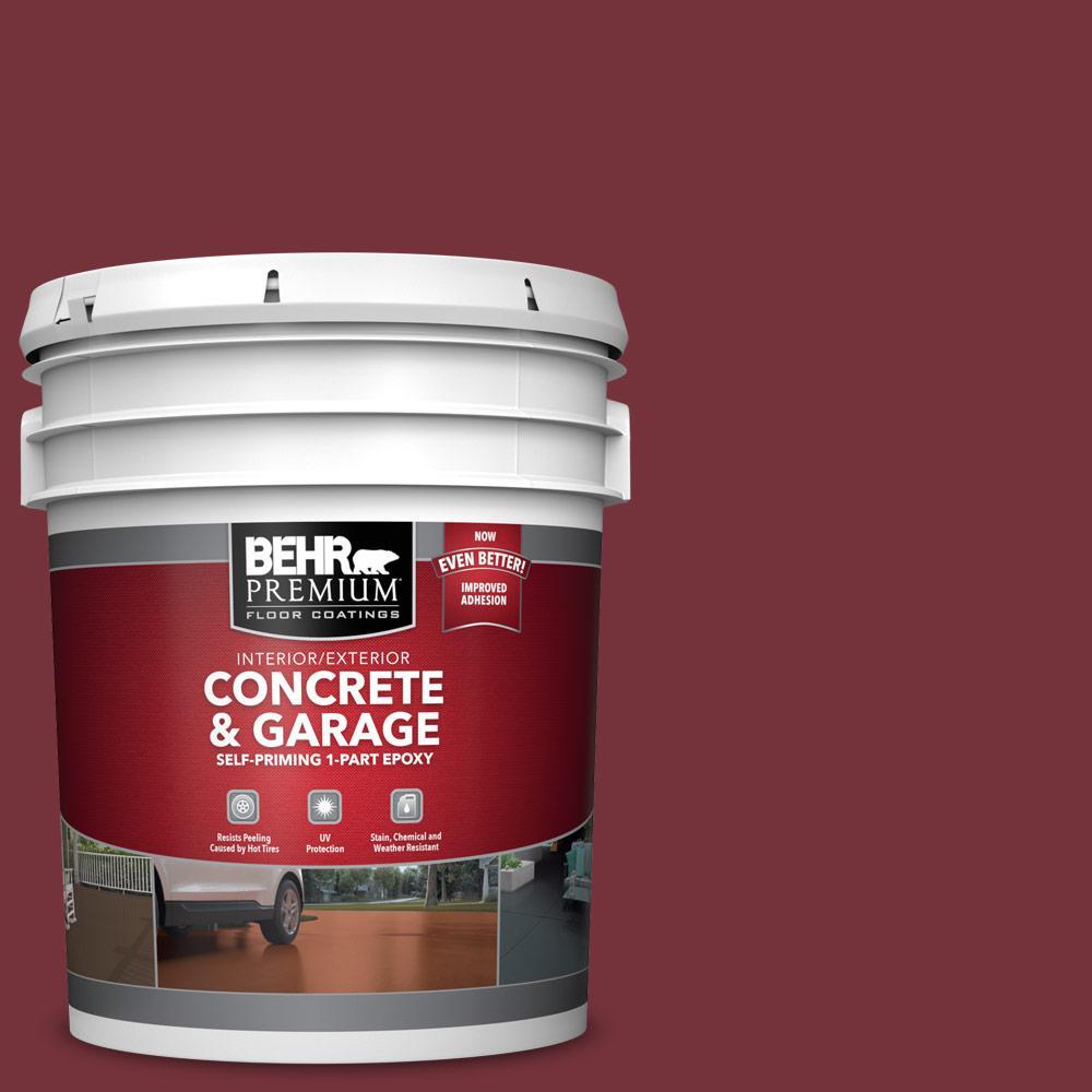 5 gal. #PPF-01 Tile Red 1-Part Epoxy Satin Interior/Exterior Concrete and Garage Floor Paint