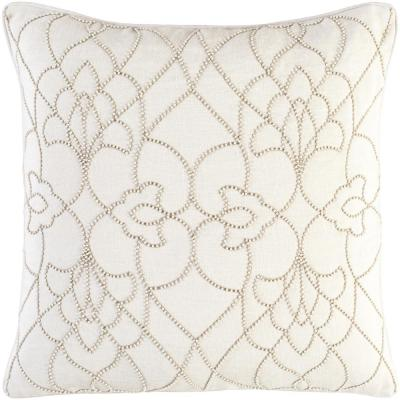 Romilly Cream Graphic Polyester 20 in. x 20 in. Throw Pillow