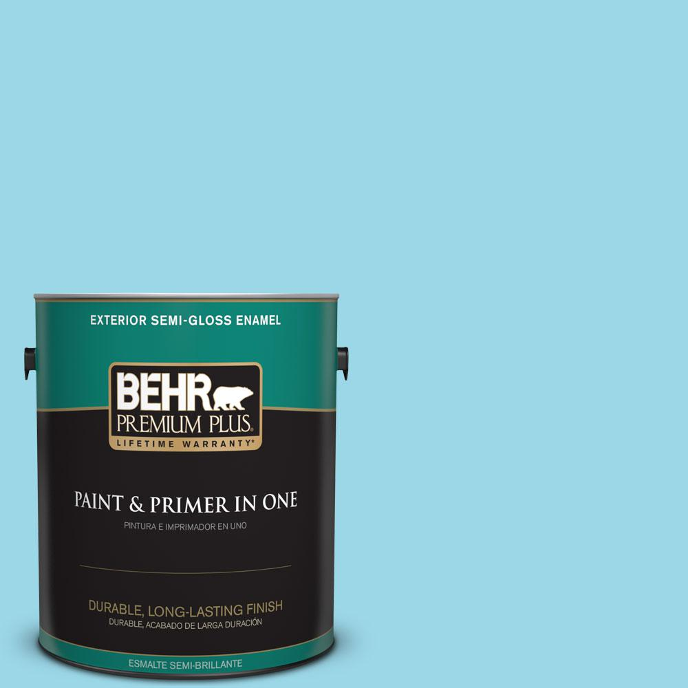 1-gal. #P480-3 Cool Water Lake Semi-Gloss Enamel Exterior Paint