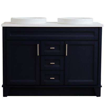 49 in. W x 22 in. D Double Bath Vanity in Blue with Quartz Vanity Top in White with White Round Basins