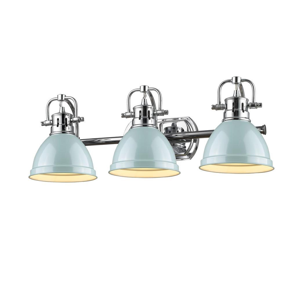 Duncan 3-Light Chrome Bath Light with Sea Foam Shade
