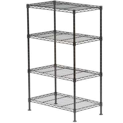 32 in. H x 20 in. W x 12 in. D 4-Shelf Light Duty Wire Shelving Unit in Black