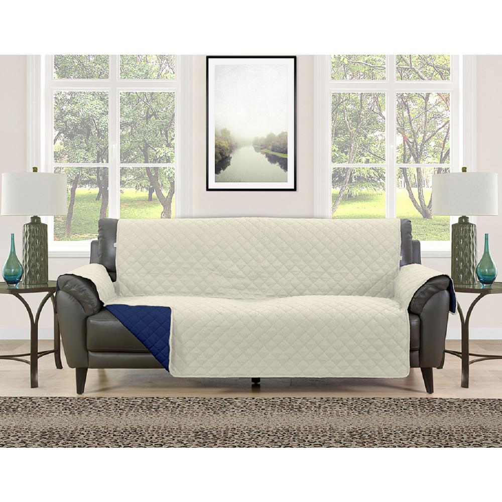 Barrett Cream/Navy Microfiber Reversible Couch Protector