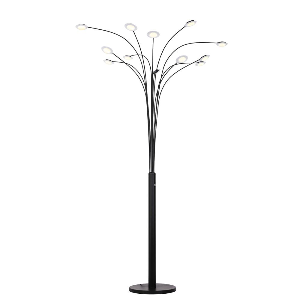Artiva Quan Money Tree 84 Inches Led Arched Matte Black Floor Lamp Led806812fb The Home Depot