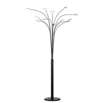 Quan Money Tree 84 inches LED Arched Matte Black Floor Lamp