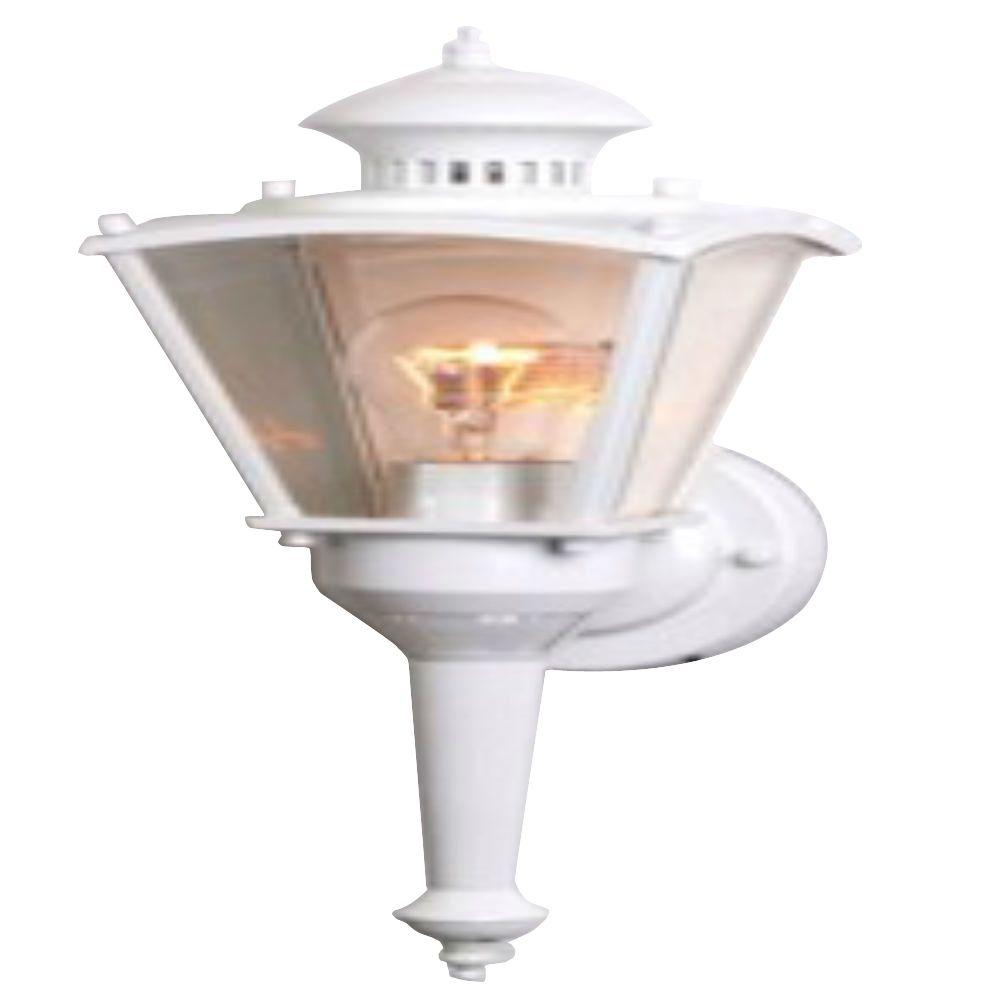 16 in.Beveled Glass Coach 1-Light White Motion Activated Outdoor Dusk to