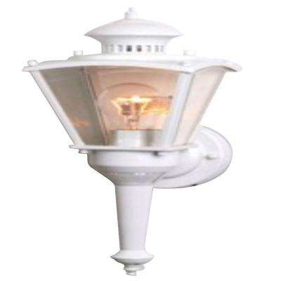 16 in.Beveled Glass Coach 1-Light White Motion Activated Outdoor Dusk to Dawn Wall Mount Lantern