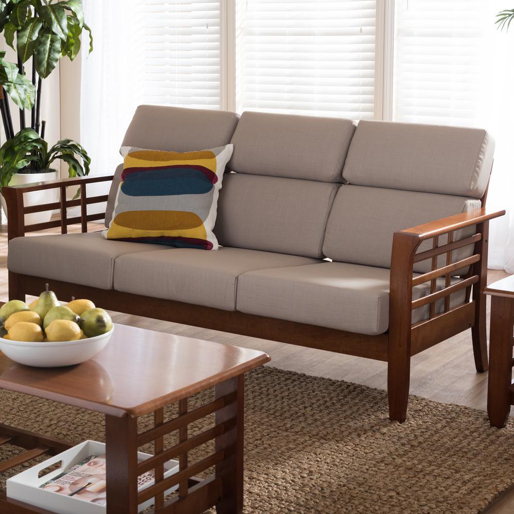 Larissa Contemporary Taupe Fabric Upholstered Sofa