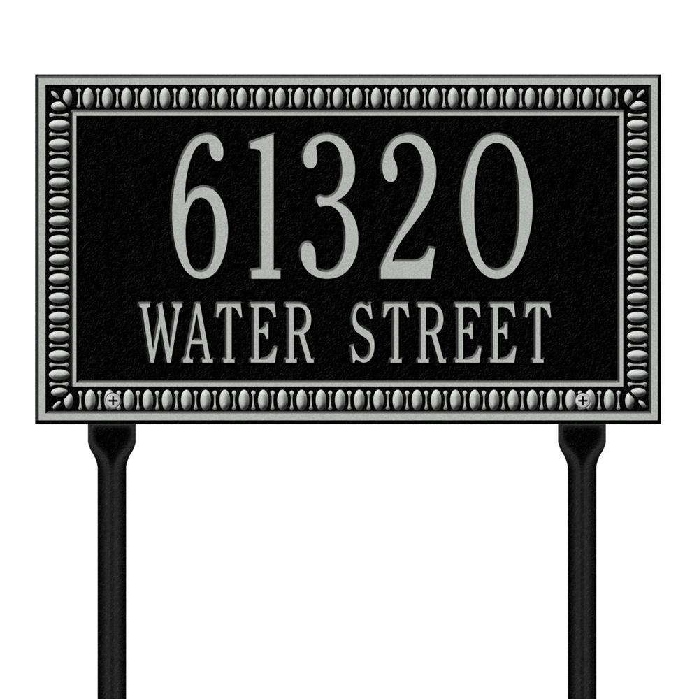 Egg and Dart Rectangular Black/Silver Standard Lawn Two Line Address Plaque