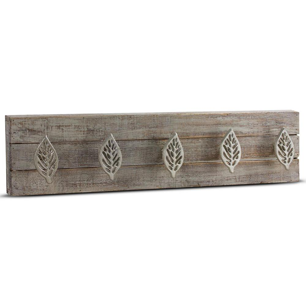 Leaves Wood/Metal Coat Rack Wall Hooks