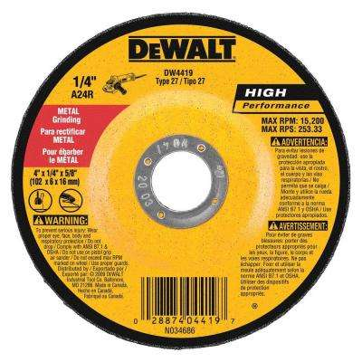 4 in. x 1/4 in. x 5/8 in. General Purpose Metal Grinding Wheel