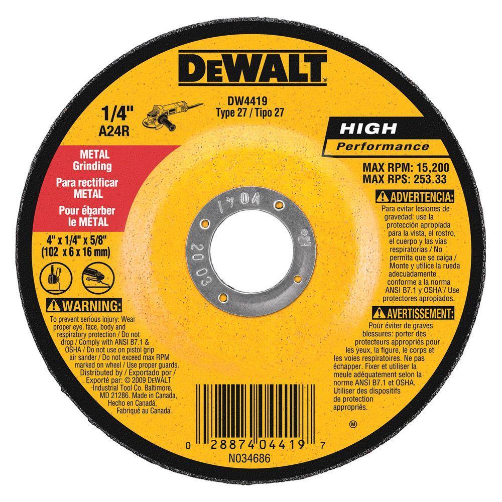 4 in. x 1/4 in. x 5/8 in. General Purpose Metal Grinding Wheel