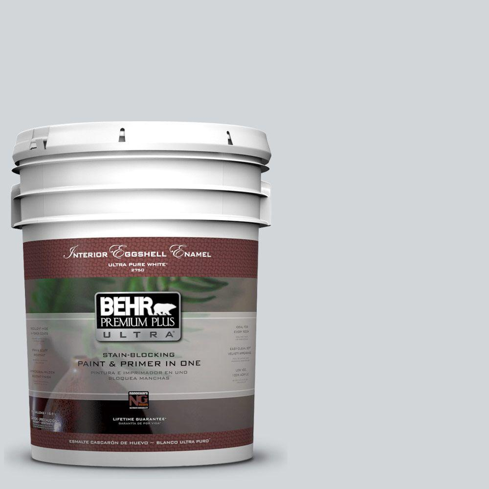 BEHR Premium Plus Ultra 5-gal. #750E-2 Twilight Gray Eggshell Enamel Interior Paint, Blues