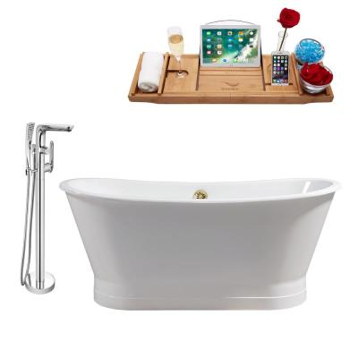 Tub, Faucet and Tray Set 67 in. Cast Iron Flatbottom Non-Whirlpool Bathtub in Glossy White