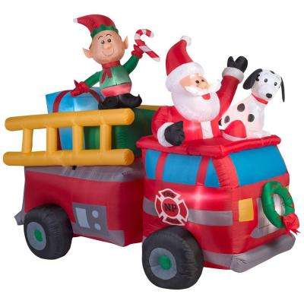 7 ft. Lighted Inflatable Santa's Fire Truck Scene