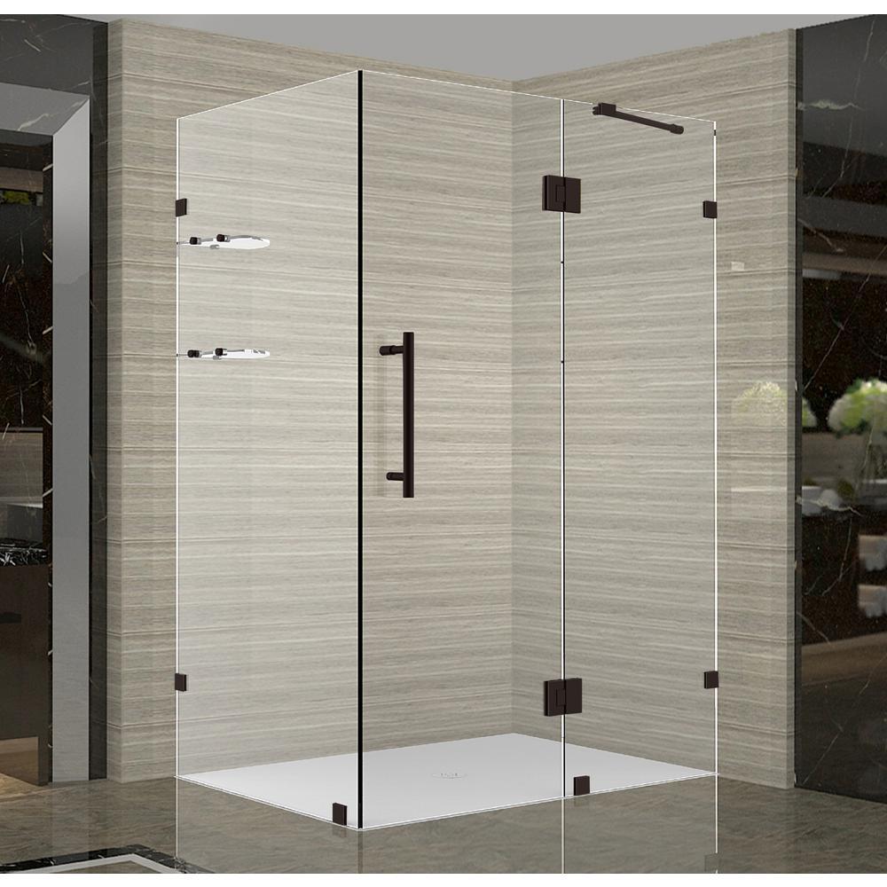 Aston Avalux Gs 37 In X 72 In X 32 In Frameless Corner Hinged Shower Door In Bronze With Glass Shelves Sen992 Nbr 3732 10 The Home Depot
