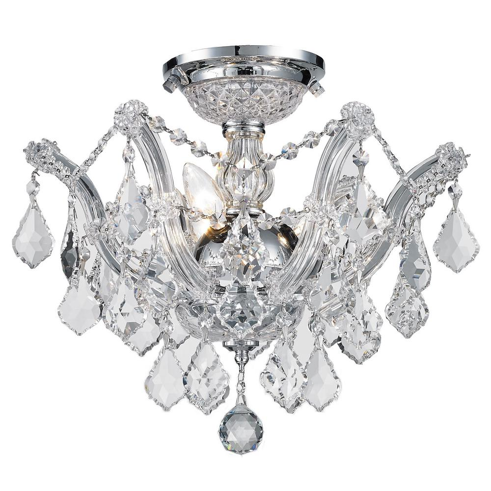 Worldwide Lighting Bayou Collection 3 Light Chrome Crystal Ceiling