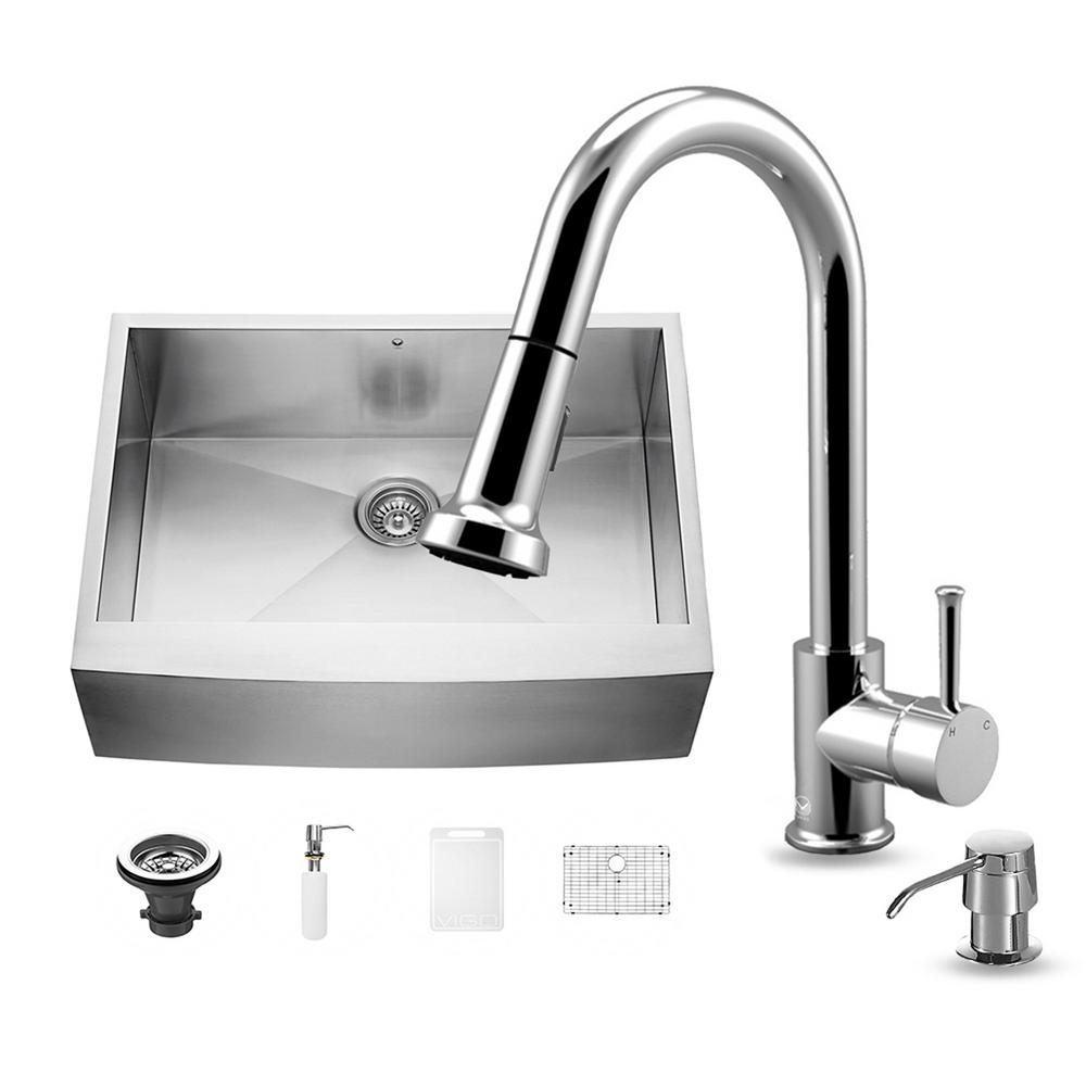 VIGO All-in-One Farmhouse Apron Front Stainless Steel 30 in. 0-Hole Single Basin Kitchen Sink and Faucet Set in Chrome