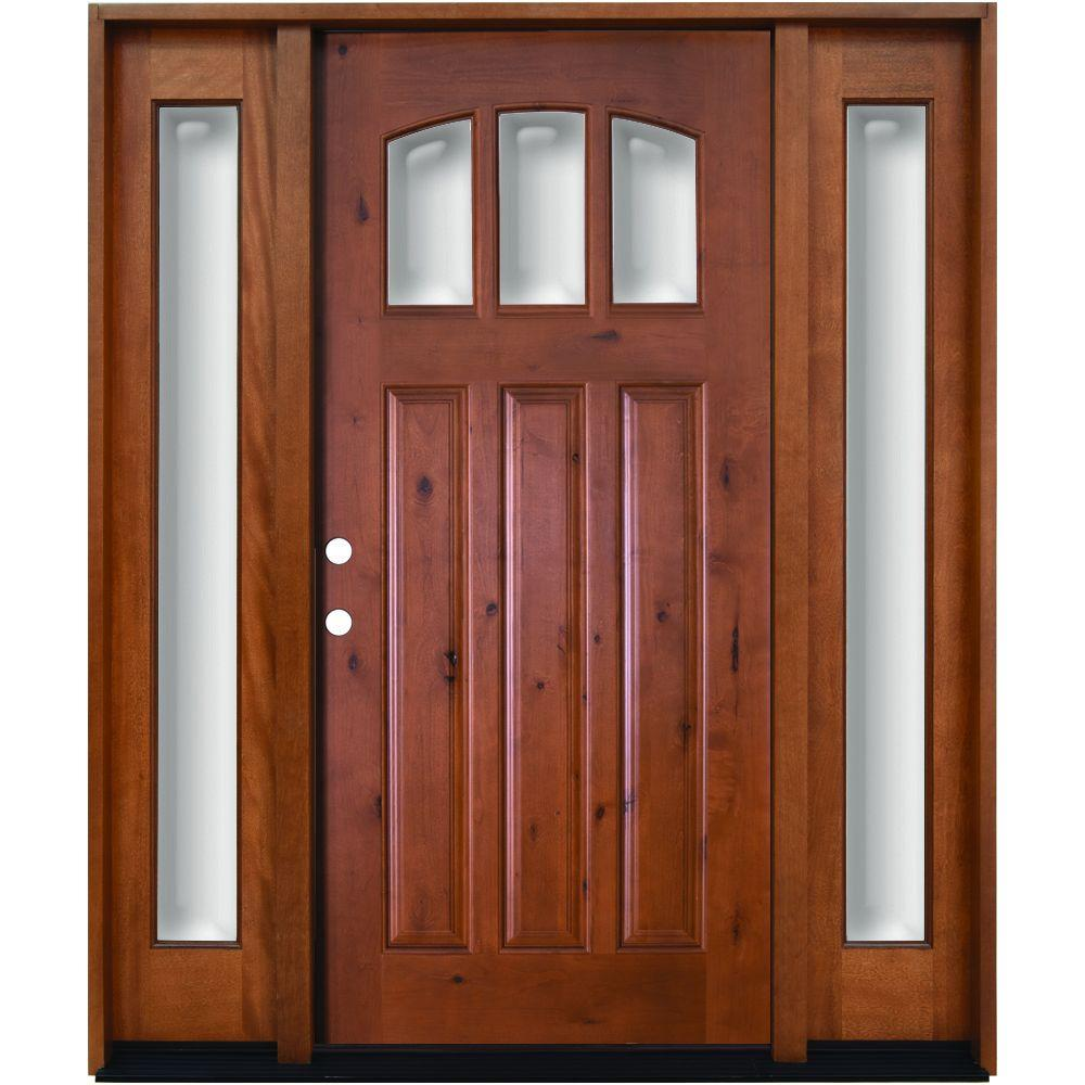 Steves & Sons 60 in. x 80 in. Craftsman 3 Lite Arch Stained Knotty Alder Wood Prehung Front Door with Sidelites