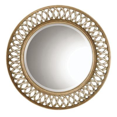 Large Round Gold And Silver Modern Mirror (45 in. H x 45 in. W)