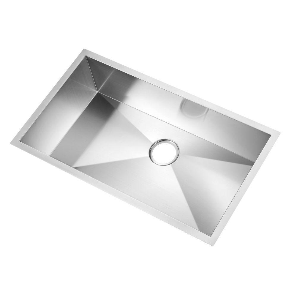 Undermount Zero Radius Stainless Steel 33x19x10 in. 0-Hole Single Bowl Kitchen Sink in Satin