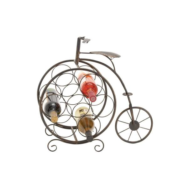 Litton Lane Brass Brown Penny Farthing Bike 8-Bottle Wine Rack 65883
