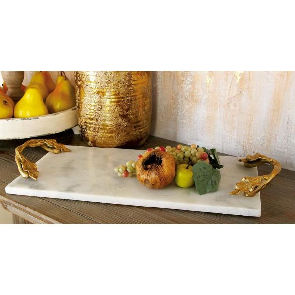 21 in. W x 2 in. H White Marble Rectangular Decorative Tray with Gold Leaf-and-Vine-Shaped End Handles