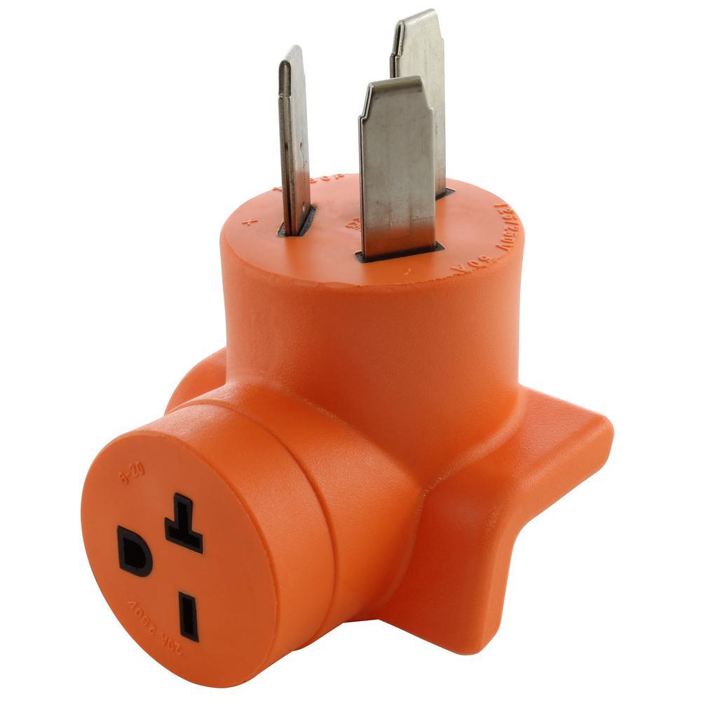 NEMA 6-20R 15 Amp/20 Amp 250-Volt T-Blade Connector to NEMA 10p-50p 50 Amp 3-Prong Plug