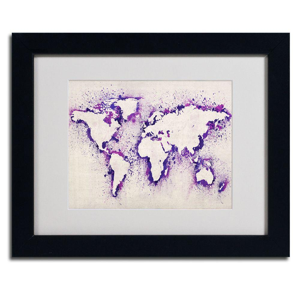 Trademark Fine Art 11 in. x 14 in. World Map Purple Splash Framed Matted Art