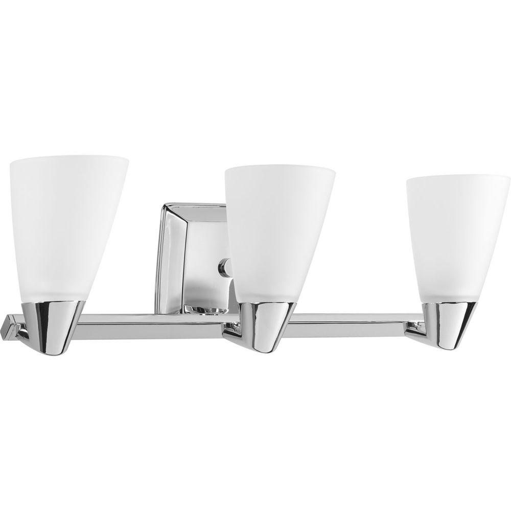 Progress Lighting Rizu Collection 3-Light Polished Chrome Vanity Light with Etched Glass Shades