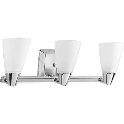 Rizu Collection 3-Light Polished Chrome Vanity Light with Etched Glass Shades