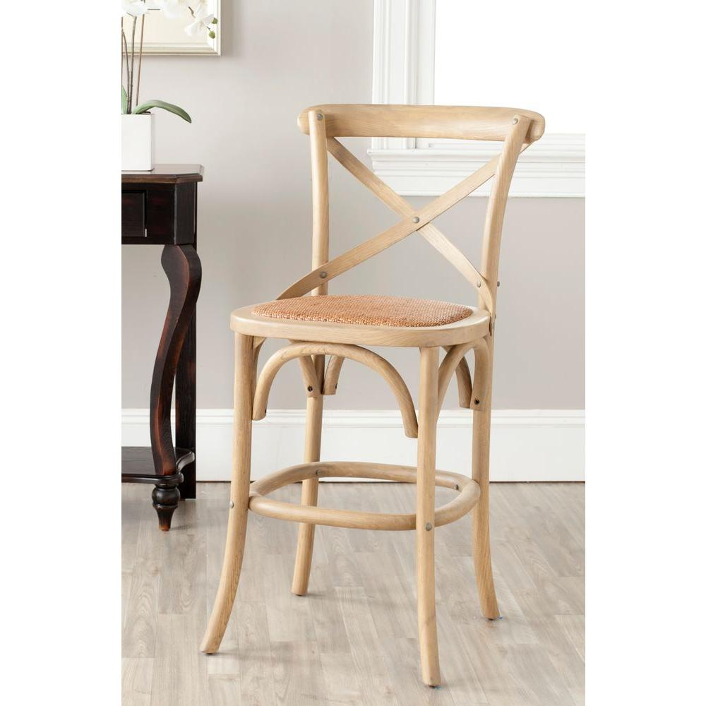 Safavieh Franklin 24 4 In Weathered Oak Bar Stool