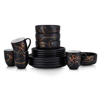 16-Piece Casual Gold and Black Porcelain Dinnerware Set (Set for 4)