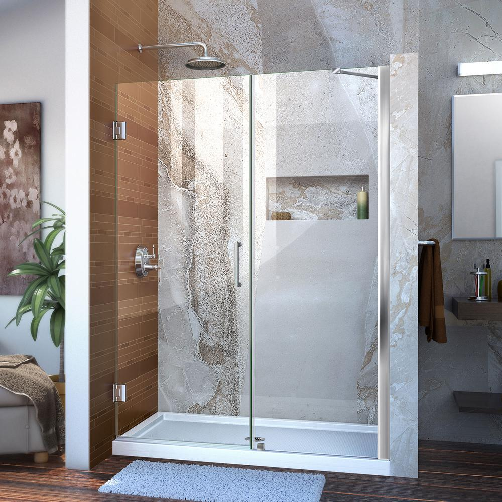 DreamLine Unidoor 51 to 52 in. x 72 in. Frameless Hinged Pivot Shower Door in Chrome with Handle