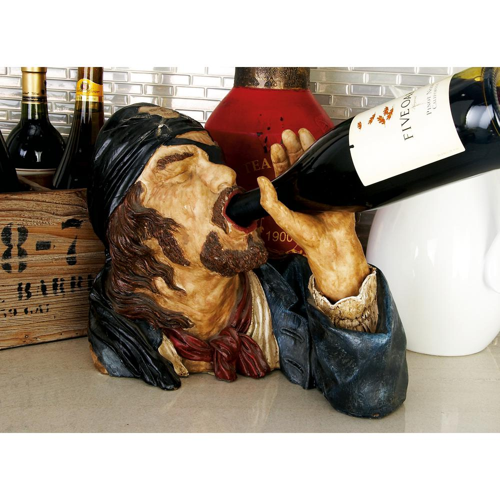 10 in. Polystone Drinking Pirate Wine Holder