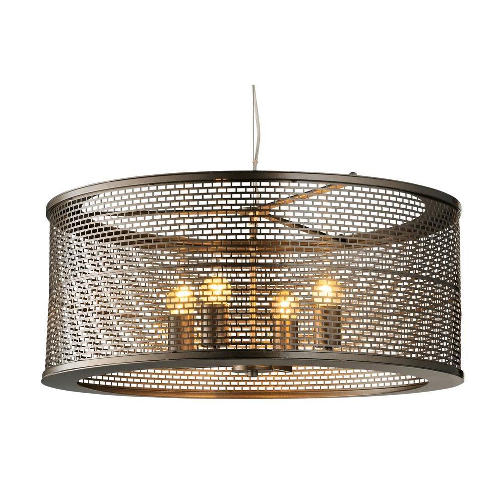 Elegant Varaluz Lit Mesh Test 4 Light New Bronze Pendant With Recycled Steel Mesh  Shade
