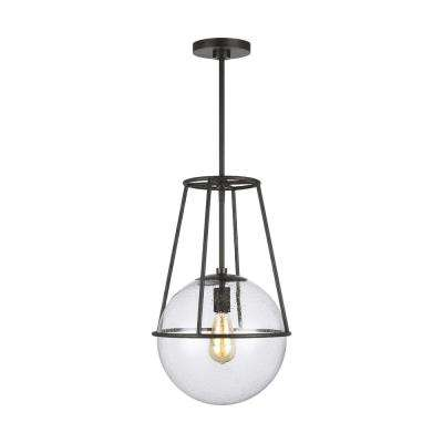 ED Ellen DeGeneres Crafted by Generation Lighting Atlas 12.5 in. W 1-Light Aged Iron Cage with Seeded Glass Orb Pendant