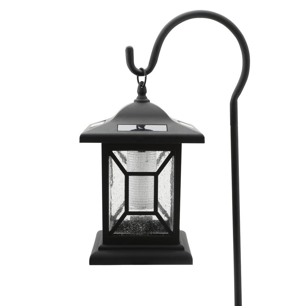 HAMPTON BAY LED BRIGHT SOLAR LANTERN BLACK STAKE OR HANGING HOOK PATHWAY LIGHT