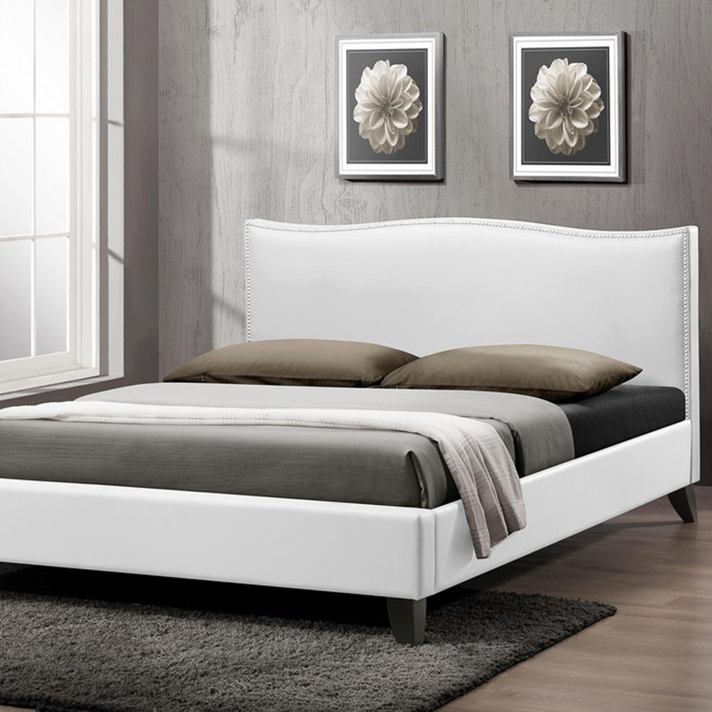 Battersby Transitional White Faux Leather Upholstered Queen Size Bed