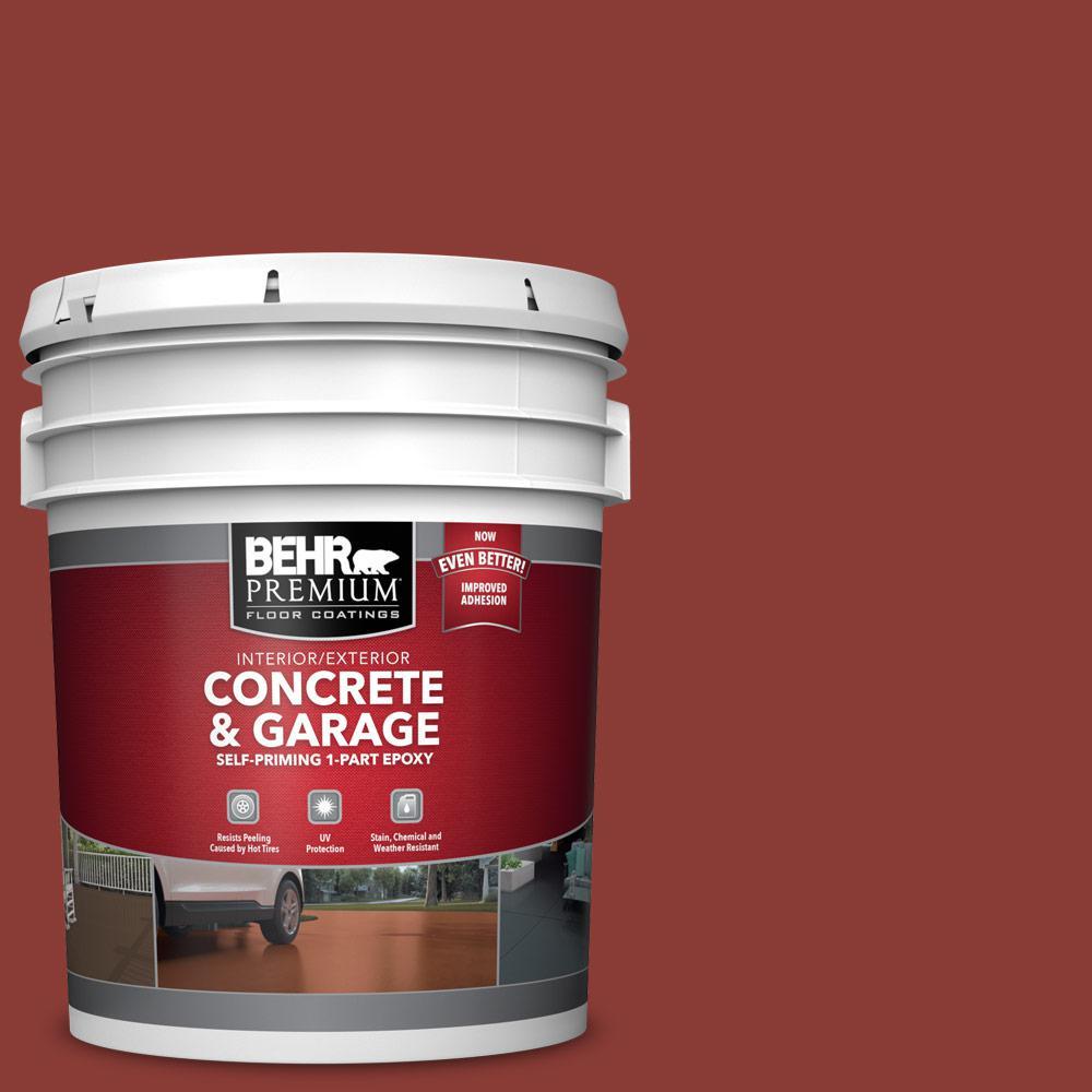 BEHR PREMIUM 5 gal. #PPF-30 Deep Terra Cotta Self-Priming 1-Part Epoxy Satin Interior/Exterior Concrete and Garage Floor Paint