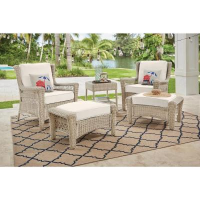 Park Meadows Off-White Wicker Outdoor Patio Ottoman with CushionGuard Almond Tan Cushion