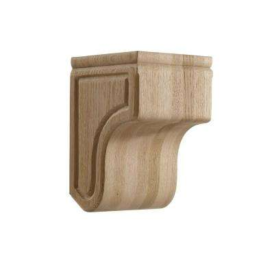 5.75 in. x 6 in. x 8.875 in. Red Oak Carved Modern Corbel