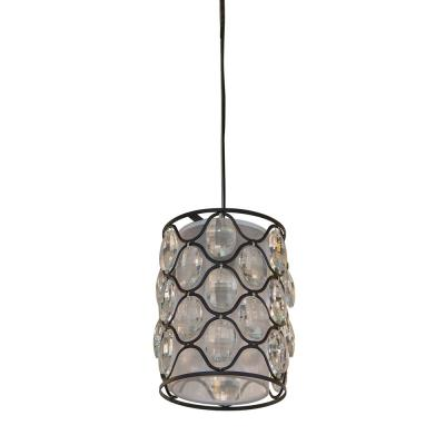Claire 1-Light Crystal and Black Steel Framework Pendant