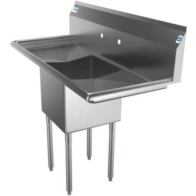 Freestanding Stainless Steel 45 in. 2-Hole Single Bowl Commercial Kitchen Sink